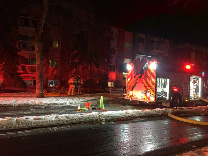A fire broke out in the Whyte Champagne apartment building at 10625 83 Ave. on Monday, Jan. 6, 2020.