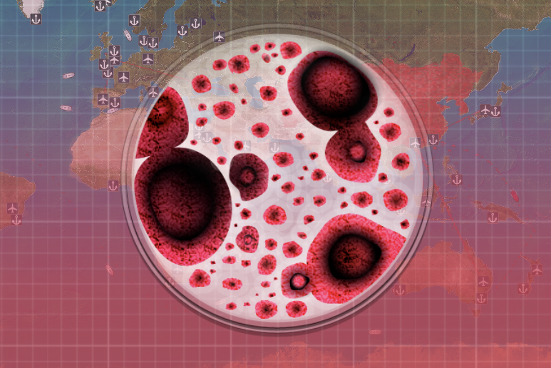 """A screenshot from the video game Plague Inc. shows a user named """"coronavirus,"""" based on a generic virus."""