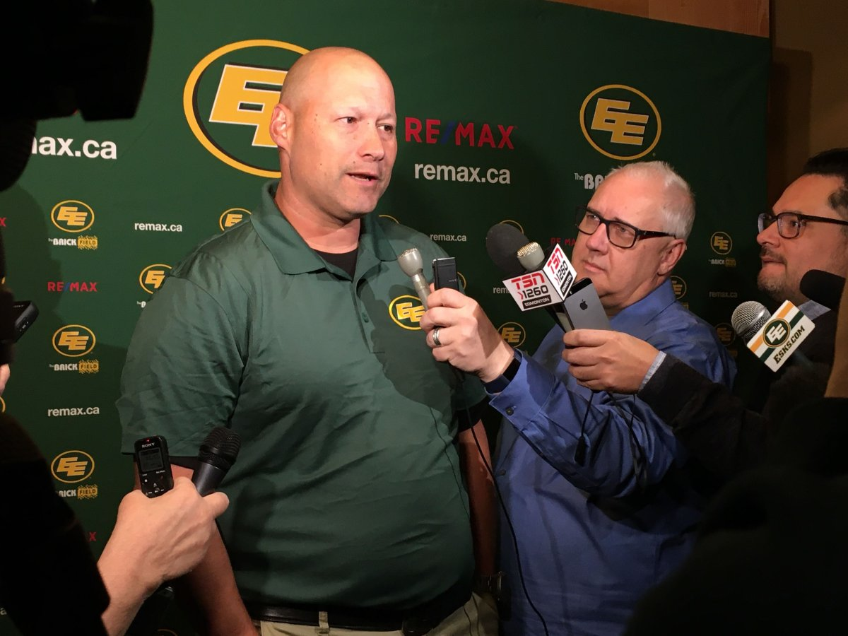 New Edmonton Eskimos head coach Scott Milanovich speaks to the media after his new coaching staff was named.