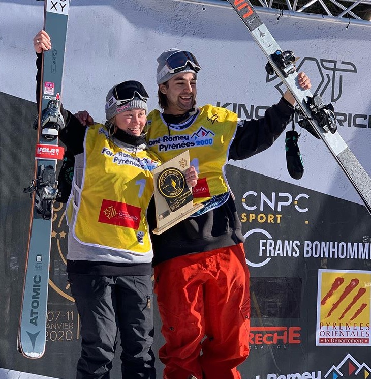 Mark Hendrickson and Sarah Hoefflin win gold in slopestyle at the World Cup on Saturday in Font Romeu, France..