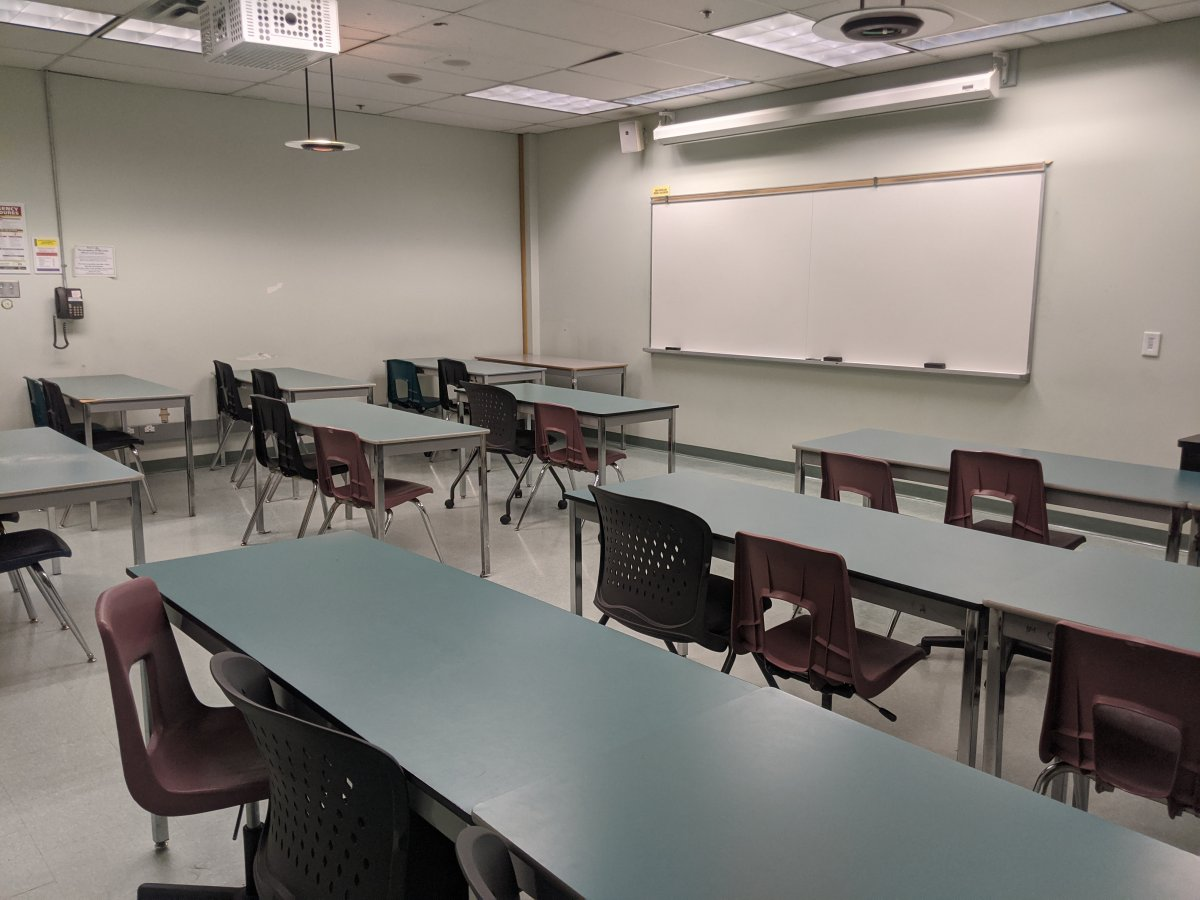 Empty classroom - file photo.