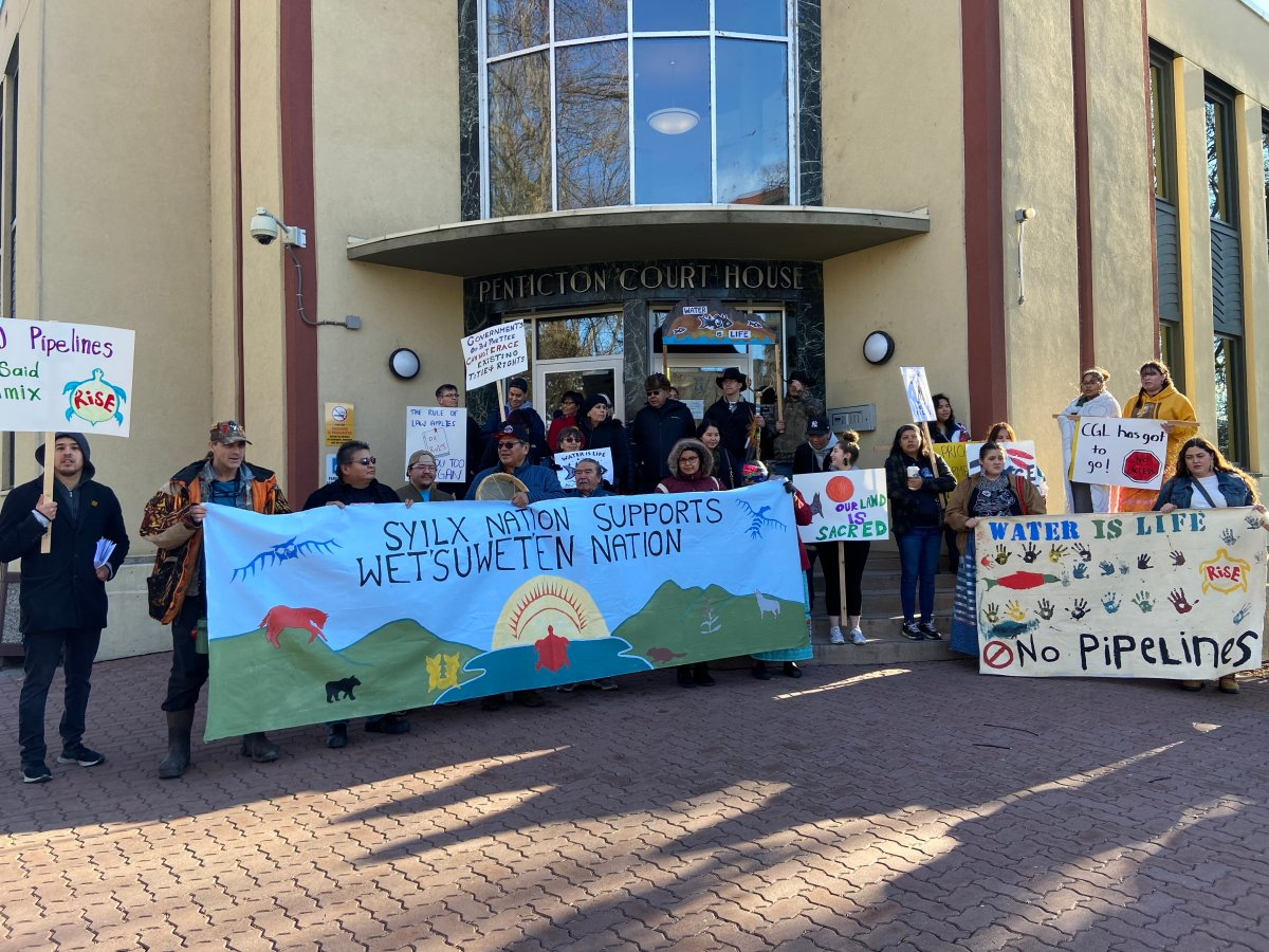 The Penticton Indian Band protested on the steps of the Penticton law courts Monday morning in support of Indigenous hereditary chiefs who are opposing the construction of a natural gas pipeline in Northern B.C.