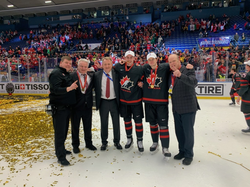 The six members of the London Knights pose for a picture together moments after winning the 2020 World Junior Hockey Championship in Ostrava, Czech Republic, on Jan. 5, 2020.