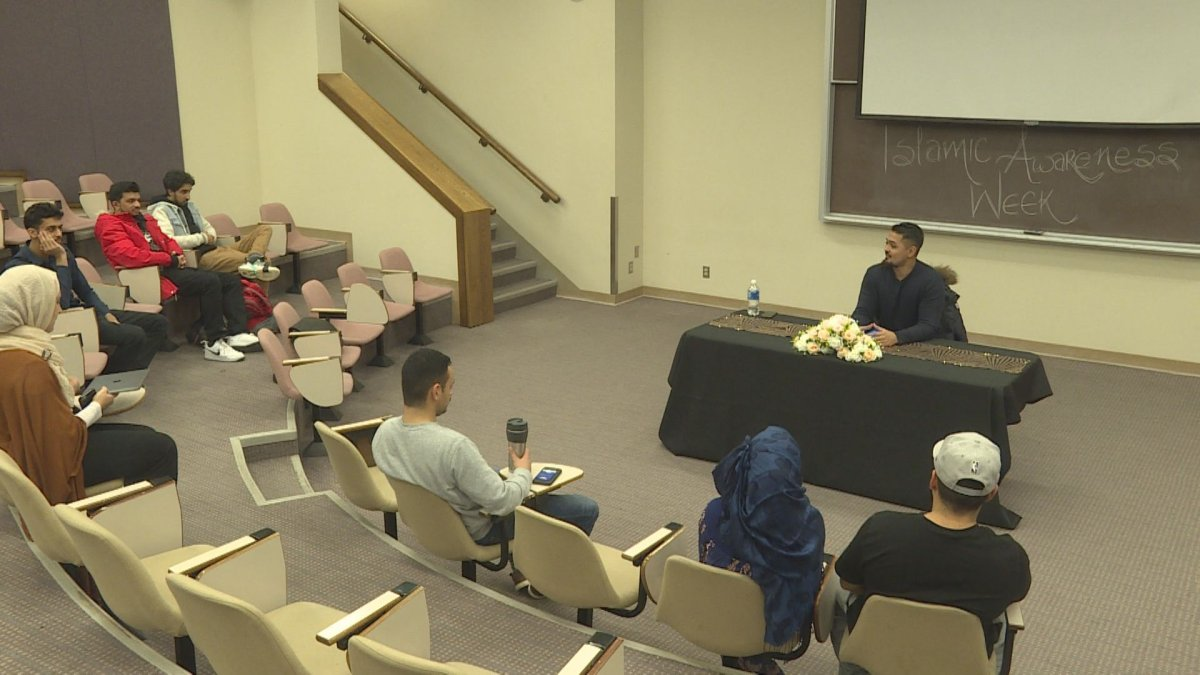 Students at Mount Royal University take part in a speaker series during United Islam Awareness Week on Monday, Jan. 20, 2020.