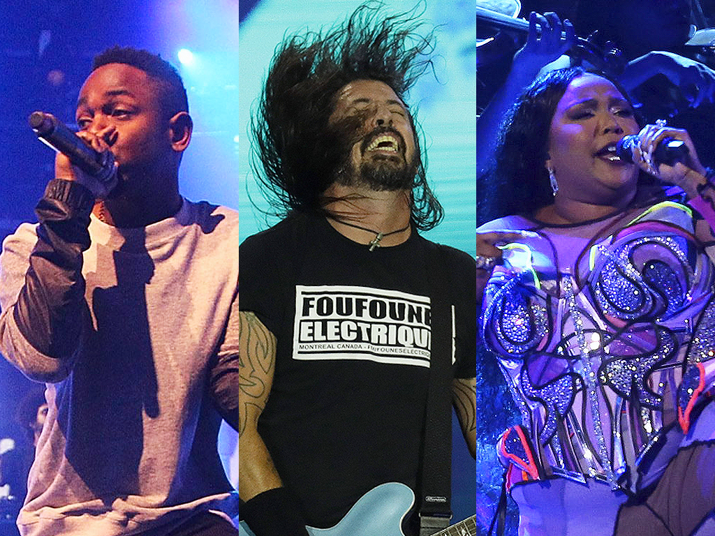 Left to right: Kendrick Lamar, Dave Grohl of Foo Fighters and Lizzo performing live. All three acts were set to headline Osheaga Music & Arts Festival in Montreal in August 2020.