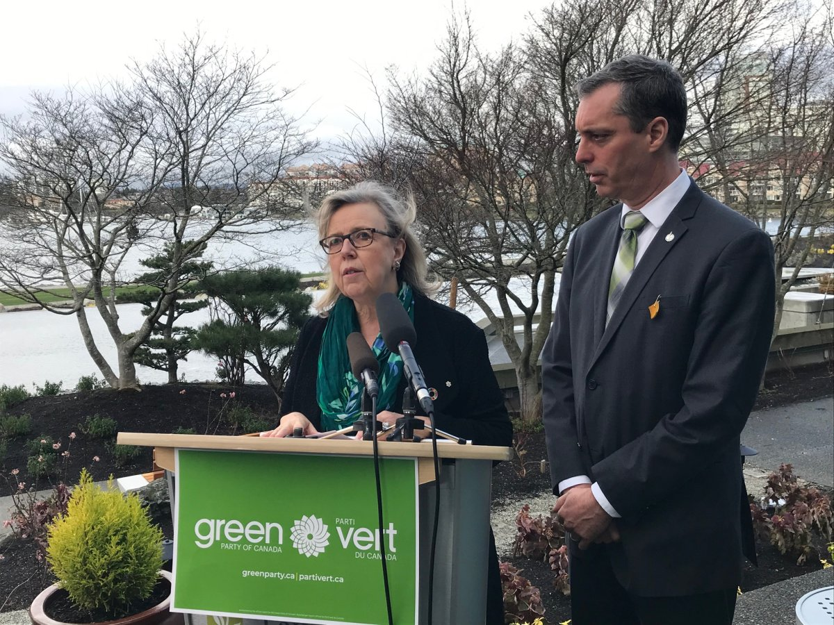 Green Party leader Elizabeth May and Nanaimo-Ladysmith MLA Paul Manly speak to reporters about Wet'suwet'en pipeline concerns.