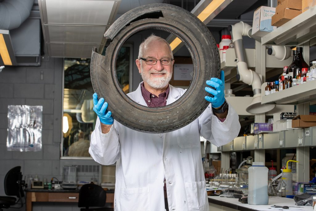"""McMaster University professor Michael Brook says tires are """"difficult to break down and recycle.""""."""