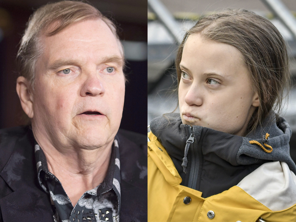 (L-R) Meat Loaf and Greta Thunberg.