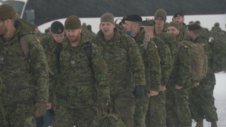 A group of soldiers left Edmonton International Airport on Wednesday to head to Latvia as part of Operation Reassurance, a NATO mission involving the Canadian Armed Forces.