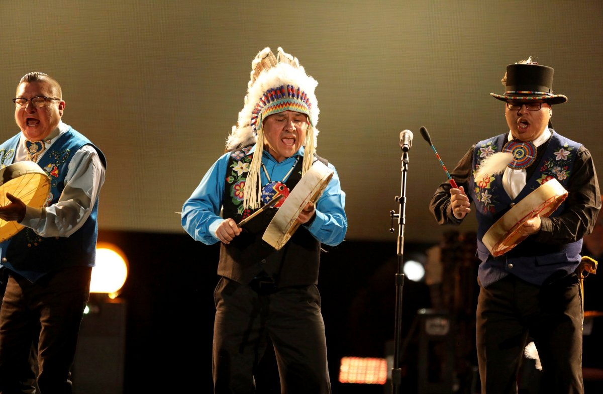 Northern Cree performs at the 59th annual Grammy Awards on Sunday, Feb. 12, 2017, in Los Angeles.