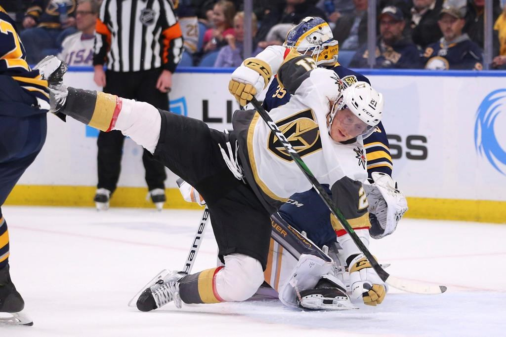 Buffalo Sabres goalie Linus Ullmark (35) brings down Vegas Golden Knights forward Cody Eakin (21) during the second period of an NHL hockey game Tuesday, Jan. 14, 2020, in Buffalo, N.Y.