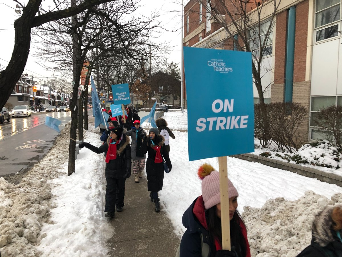 Ontario's Catholic teachers picket during a one-day strike back in January. OETCA has announced they have reached a tentative deal with the province, and have stopped all strike action.