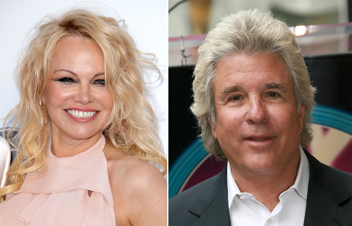 Pamela Anderson, left, and Jon Peters, right.