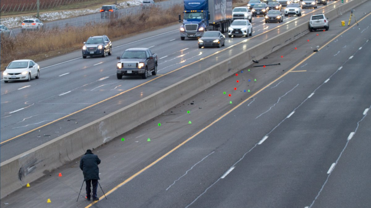 OPP Collision Reconstruction teams on the QEW between between Ontario Street and Bartlett Road Tuesday Jan. 7, 2020.