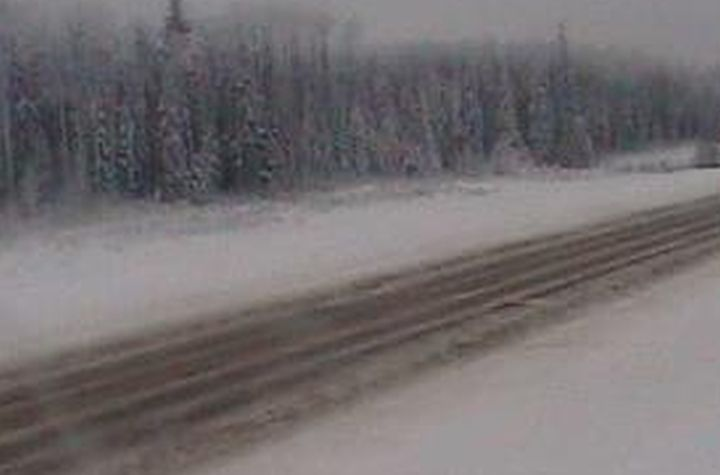 A view of Highway 58, 10 kilometres east of Rainbow Lake, Alta., at 4:53 p.m. on Jan 20, 2020.