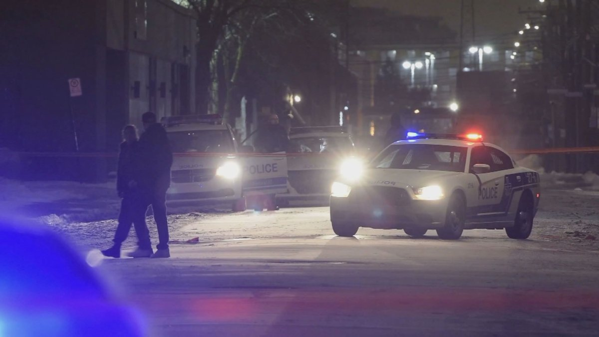 Montreal police respond to a report of shots fired in Ahuntsic-Cartierville on Thursday, Jan. 16, 2020.