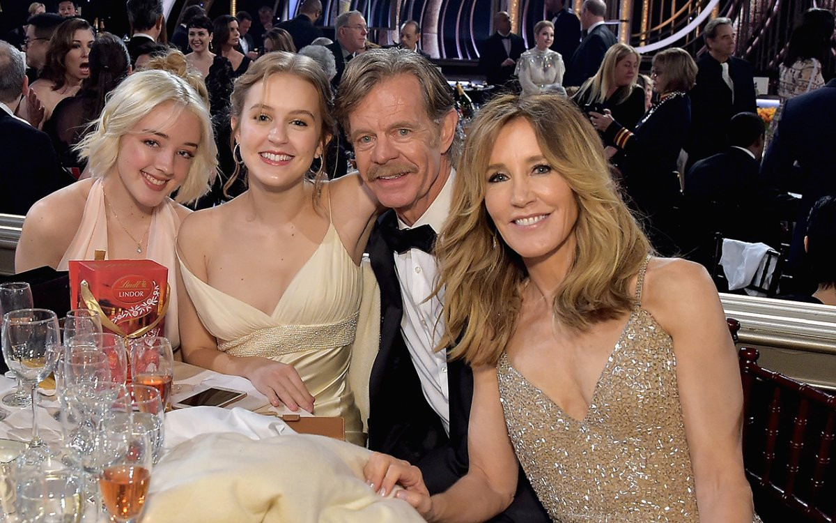 (L-R) Sofia Grace Macy, Georgia Grace Macy, William H. Macy and Felicity Huffman attend FIJI Water at the 76th annual Golden Globe Awards on Jan. 6, 2019, at the Beverly Hilton in Los Angeles, Calif.