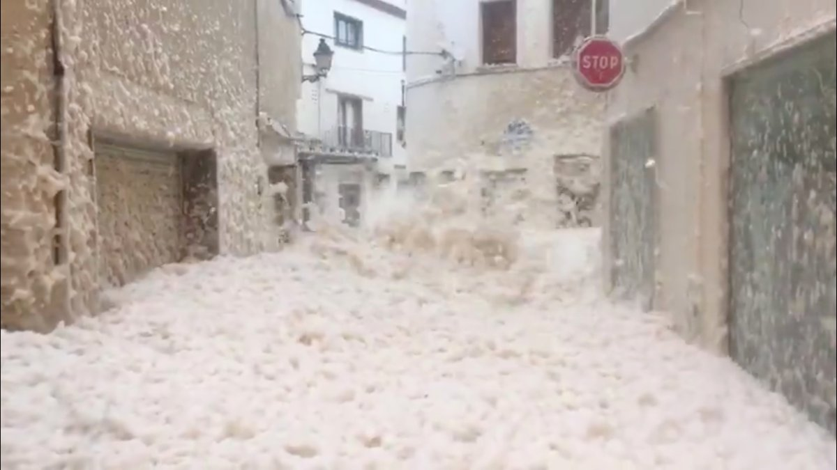 Strong winds blow thick seafoam through the streets of Tossa De Mar, Catalonia, Spain, on Jan. 20, 2020.