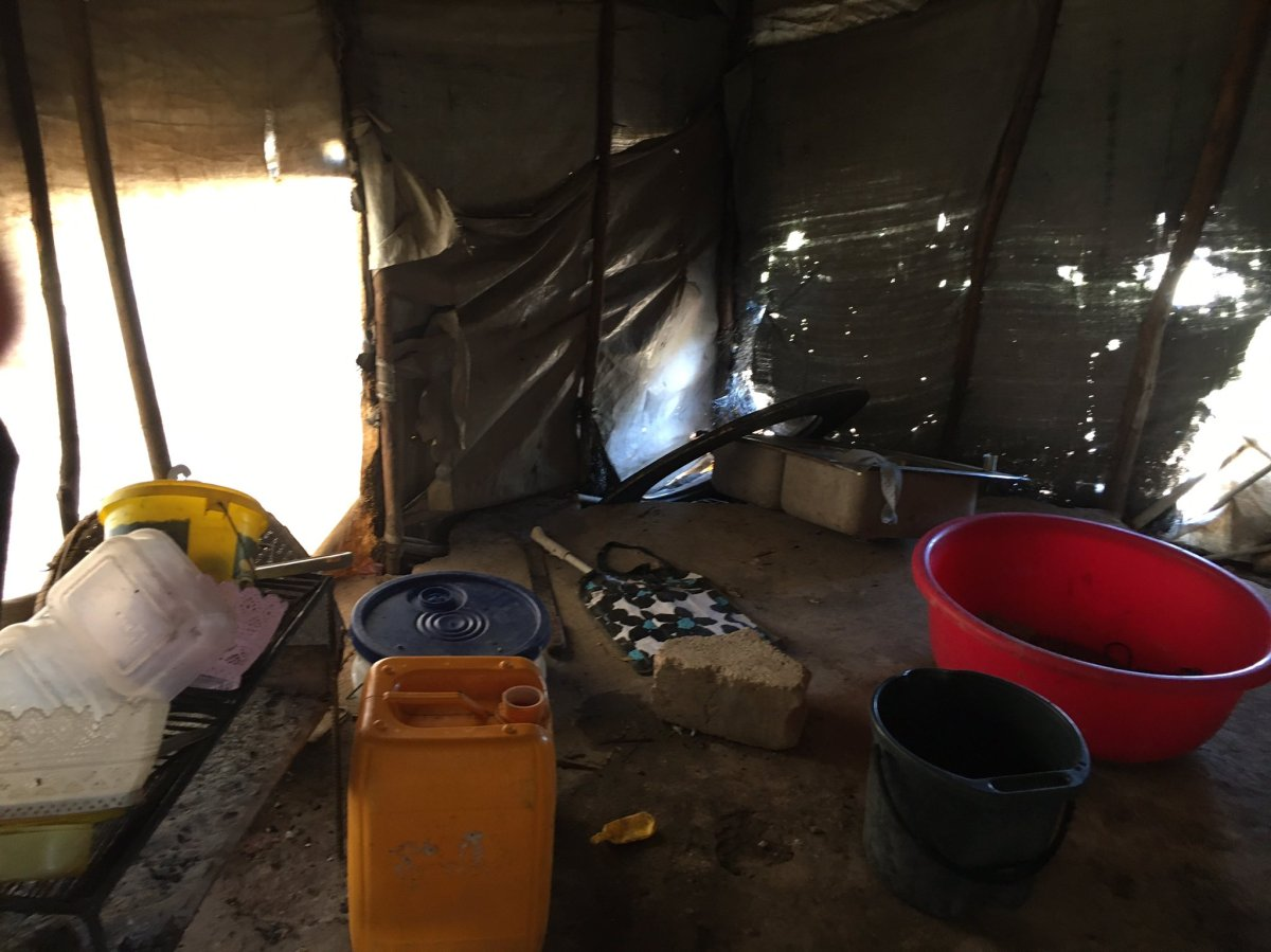 A family of seven lives inside this tent in Canaan, Haiti. (Valerie Laillet)
