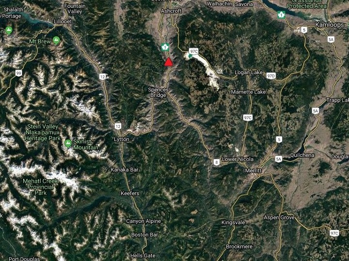 DriveBC is reporting that a rockslide has closed the Trans-Canada Highway, just north of Spences Bridge.