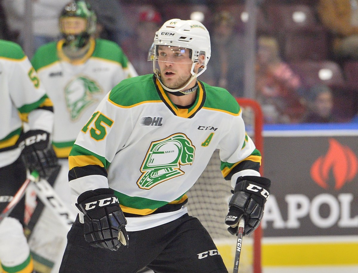 Cole Tymkin of the London Knights.