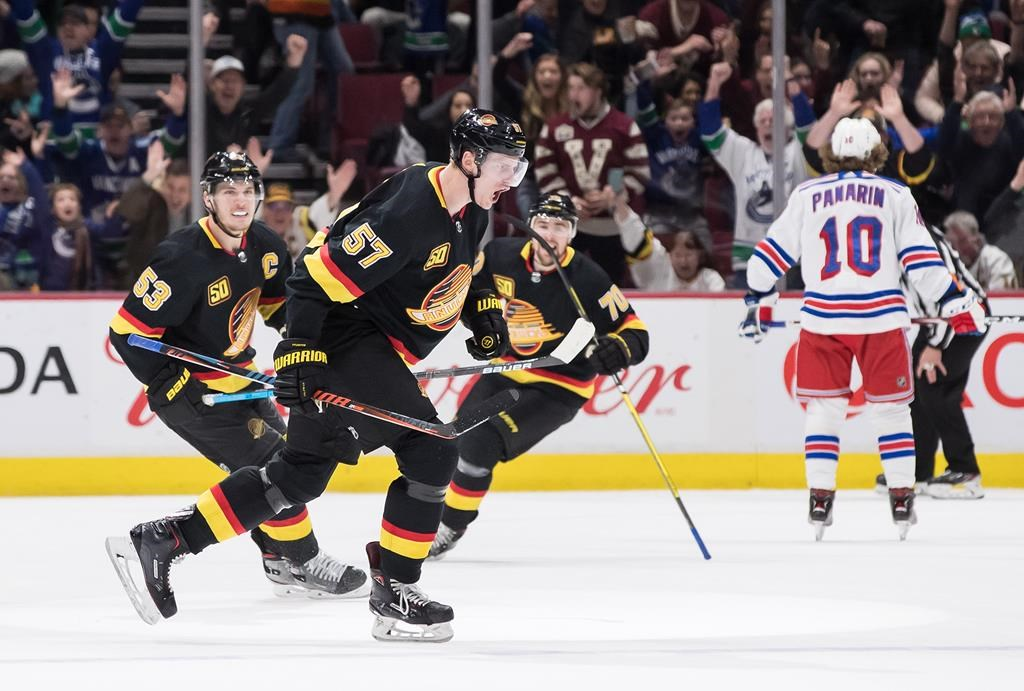 Vancouver Canucks' Tyler Myers (57) celebrates his goal with teammates Bo Horvat (53) and Tanner Pearson (70) during third period NHL hockey action against the New York Rangers, in Vancouver, Saturday, Jan. 4, 2020.