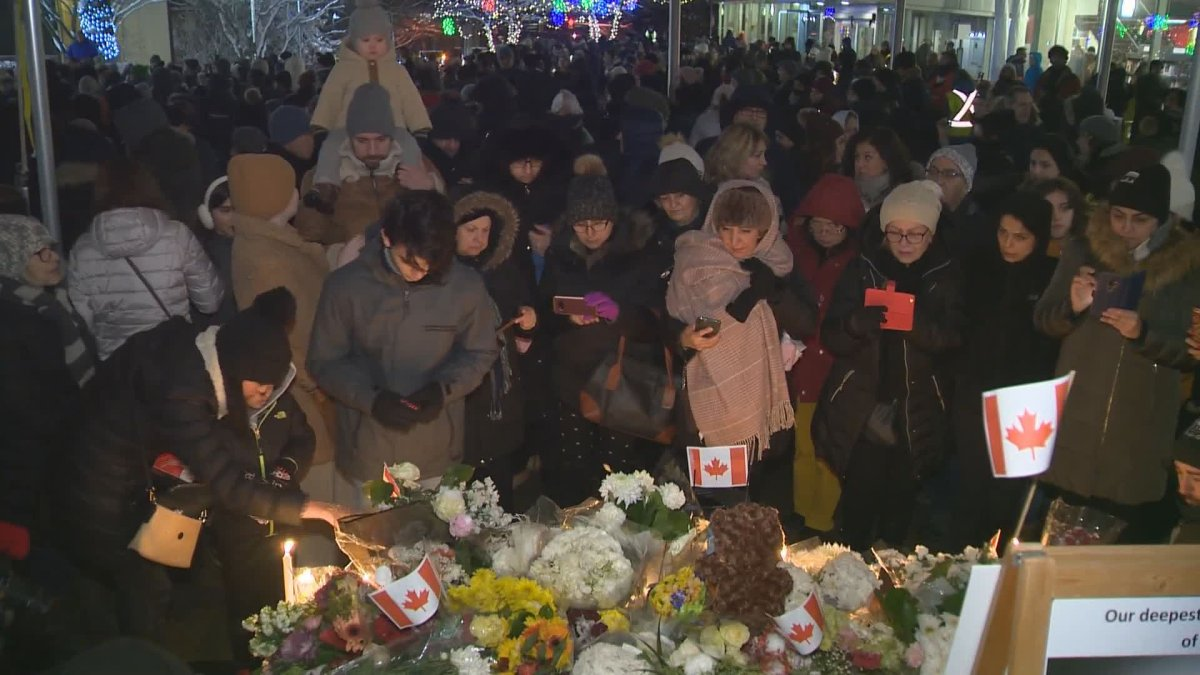 Hundreds of people gathered in North Vancouver on Tuesday evening to honour the victims of Ukrainian International Airlines flight 752.