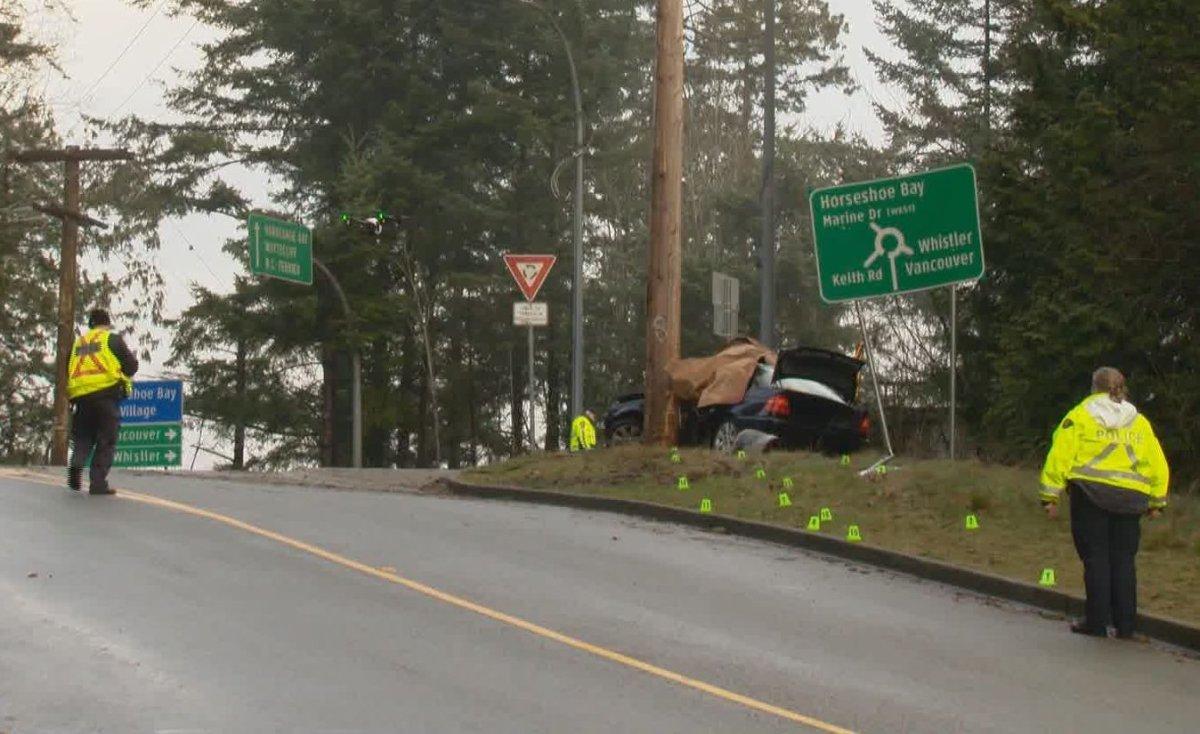 Police on scene of a fatal car crash in West Vancouver on Jan. 11, 2020.