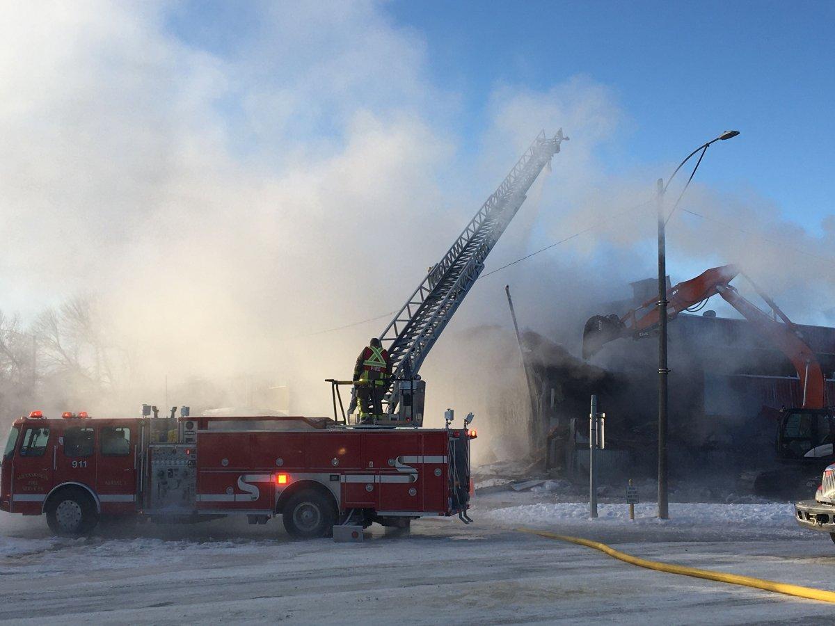 Fire crews battle a blaze at Manny's Motel in Wetaskiwin, Alta., Wednesday, Jan. 15, 2020.