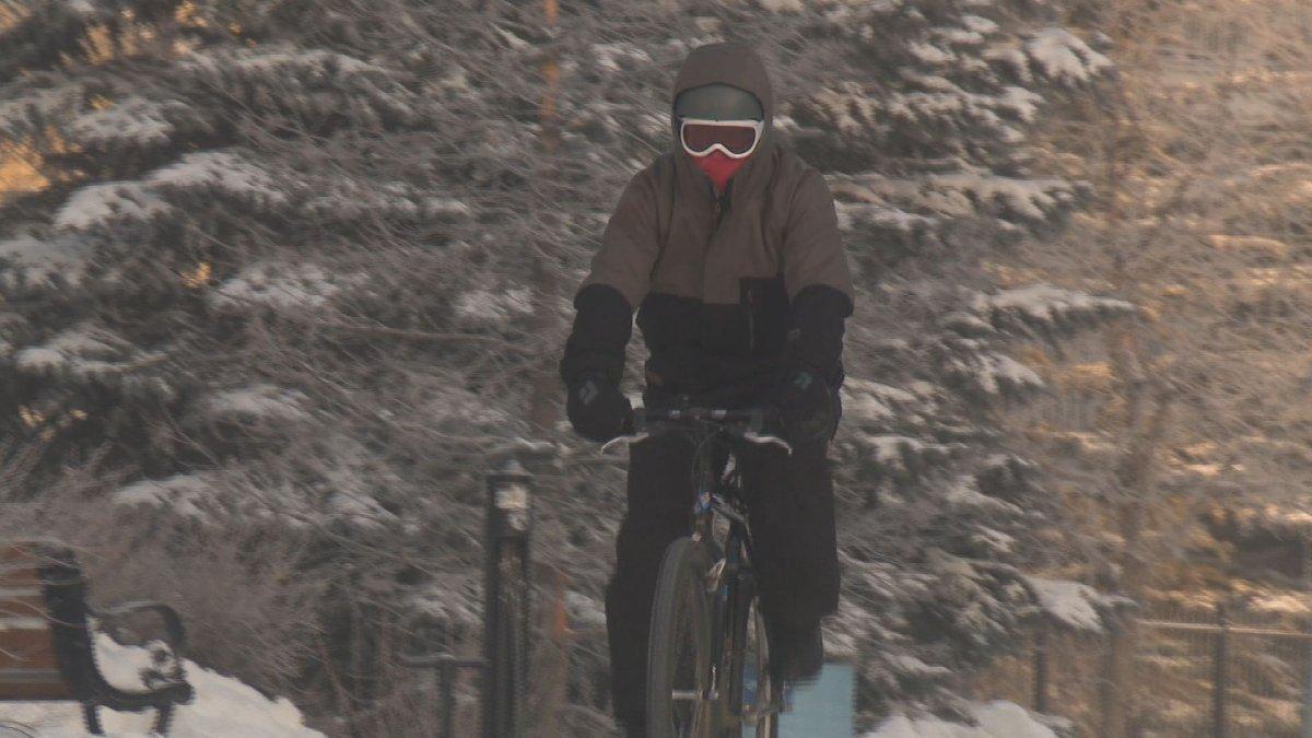 Zane Zaleschuk bikes to work on Wednesday, Jan. 15, 2020.