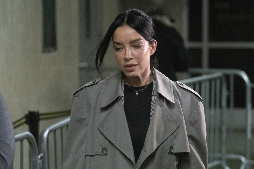 Mexican model Claudia Salinas leaves court after testifying in Harvey Weinstein's rape trial, Monday, Feb. 10, 2020 in New York.