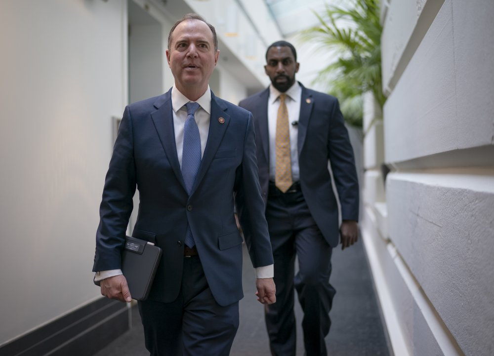 Lead House impeachment manager, Intelligence Committee Chairman Adam Schiff, D-Calif., arrives to meet with fellow Democrats at the Capitol in Washington, Wednesday, Feb. 5, 2020.