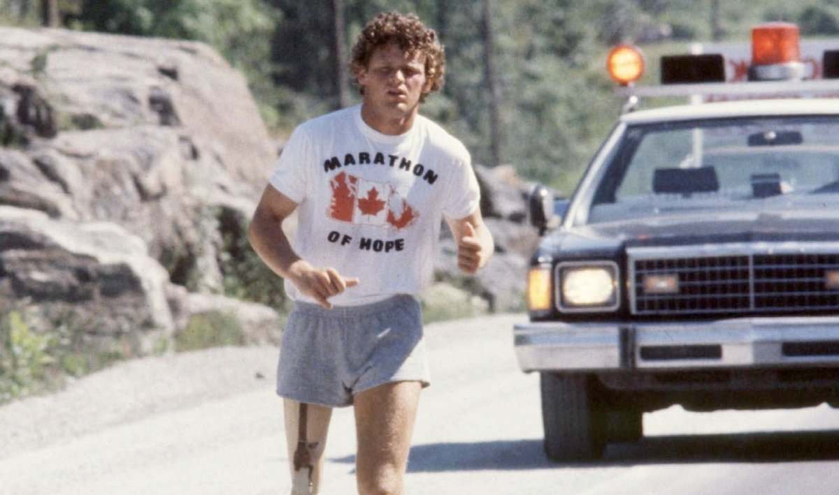 Terry Fox on the Trans-Canada Highway near North Bay, Ont., in July 1980. This year's Terry Fox Run will be held virtually in Winnipeg and across the country due to COVID-19.