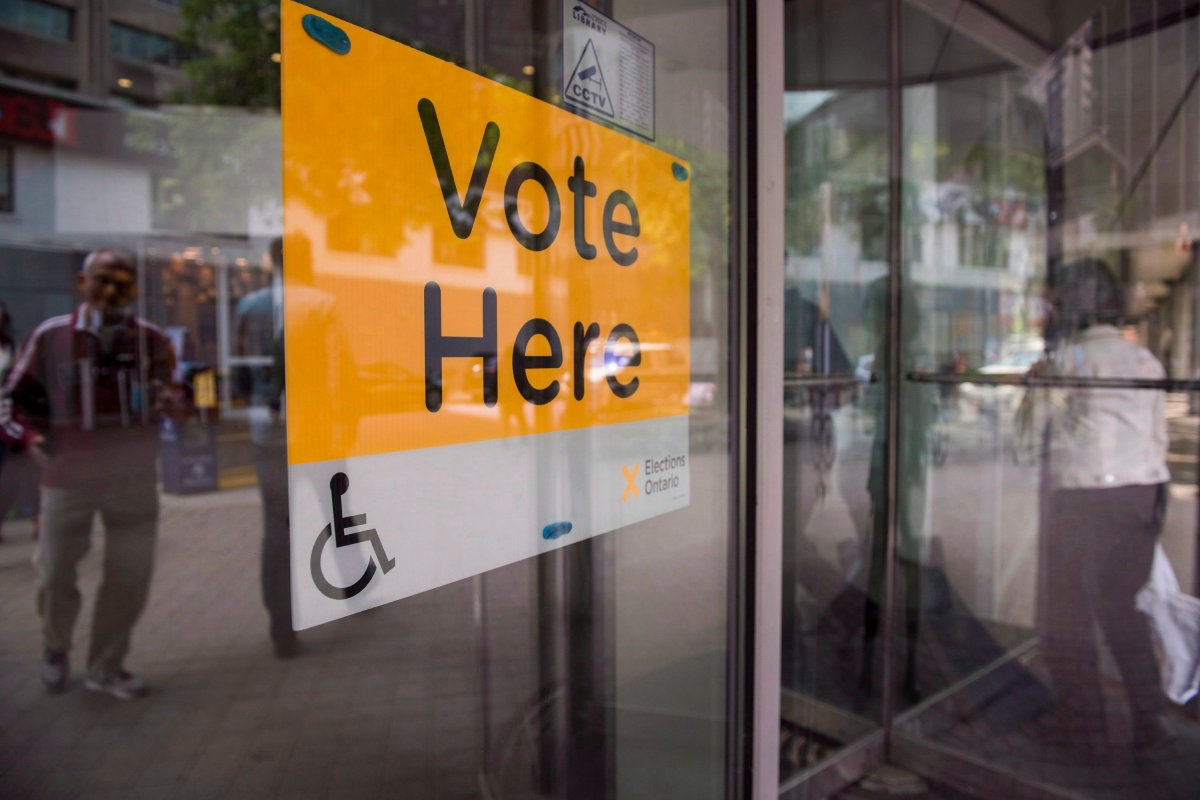 An Elections Ontario sign is seen at University - Rosedale voting location at the Toronto Reference Library on Thursday, June 7, 2018.