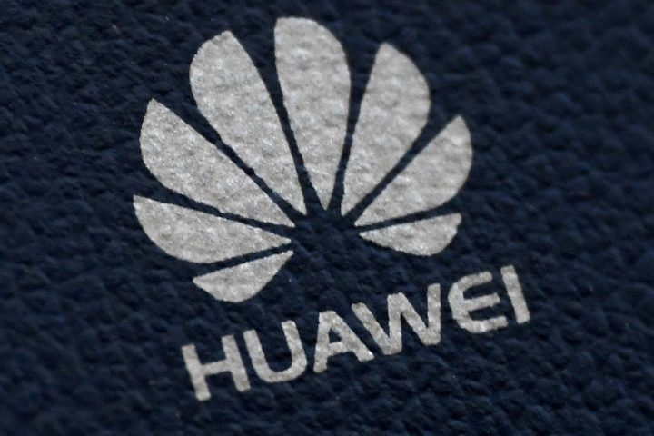 The Huawei logo is seen on a communications device in London, Britain, Jan. 28, 2020.