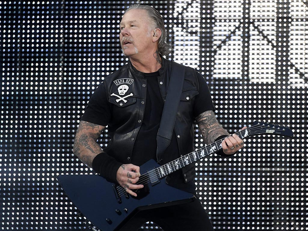 James Hetfield of Metallica performs onstage during the band's 'WorldWired' concert tour in Hämeenlinna, Finland, on July 16, 2019.