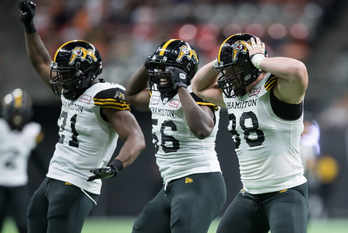 Hamilton Tiger-Cats' Dylan Wynn, front right, Ja'Gared Davis, centre, and Simoni Lawrence celebrate after Wynn sacked B.C. Lions quarterback Mike Reilly during second half CFL football action in Vancouver, Saturday, Aug. 24, 2019.