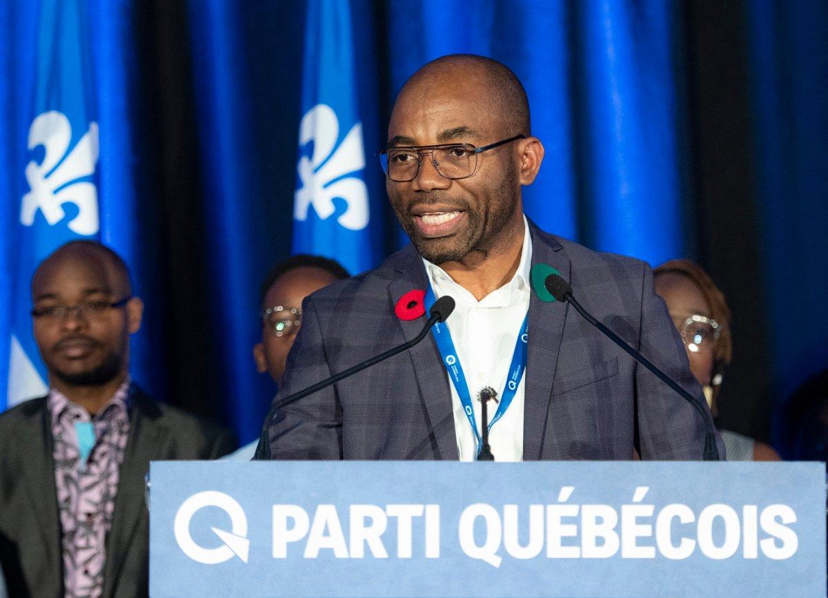 FILE -- Elected Parti Quebecois president Dieudonne Ella Oyono speaks at a Parti Quebecois extraordinary congres.