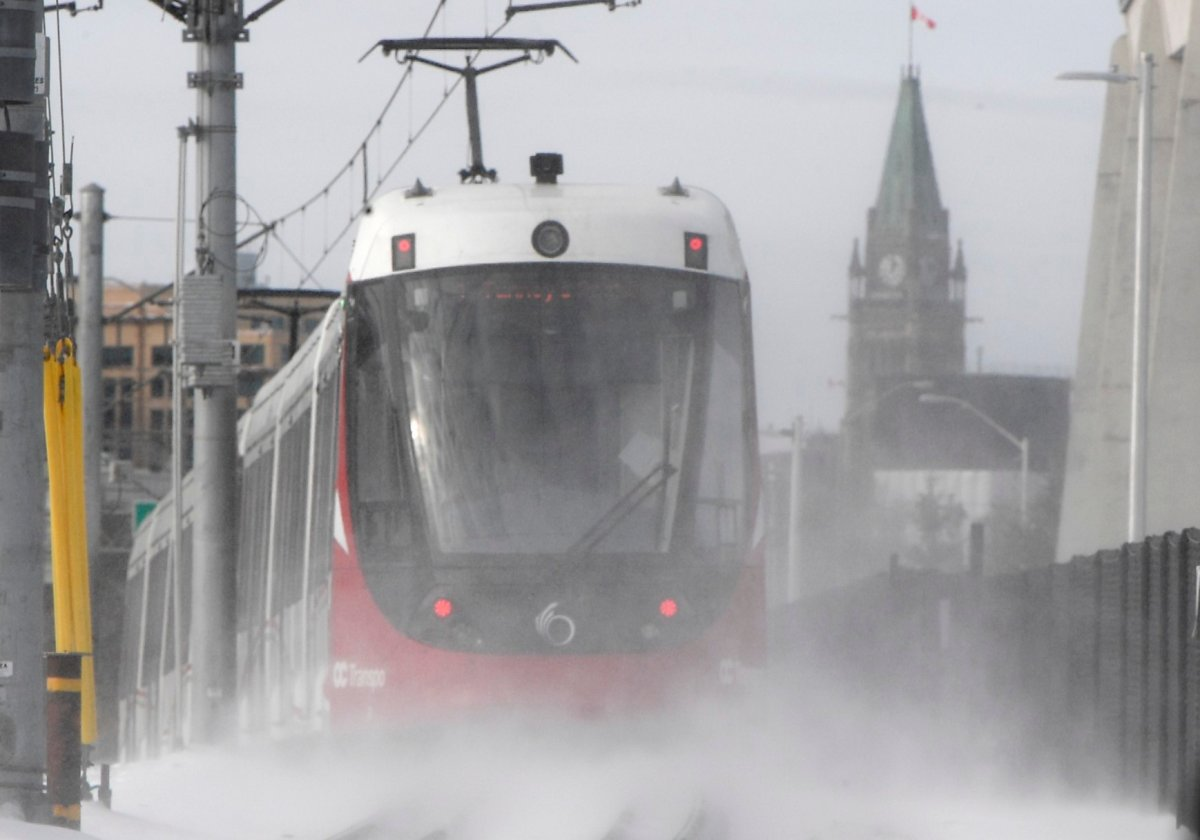 An OC Transpo light-rail train is seen heading towards downtown Ottawa on Tuesday, Jan. 21, 2020.