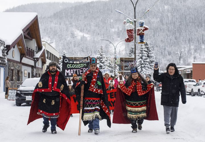 Wet'suwet'en Hereditary Chiefs from left, Rob Alfred, John Ridsdale, centre and Antoinette Austin, who oppose the Costal Gaslink pipeline take part in a rally in Smithers B.C., on Friday Jan. 10, 2020.