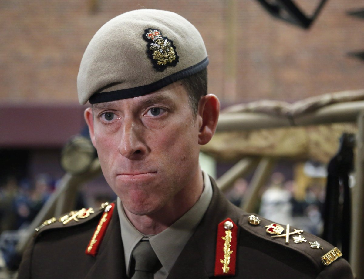 Major-General Peter Dawe speaks to reporters at a Canadian Special Operations Forces Command change of command ceremony in Ottawa on Wednesday, April 25, 2018. Canadian special-forces soldiers are treading carefully in Iraq following an Iranian missile attack against their main base last month and what their commander describes as a sensitive and complex relationship with the Iraqi central government in Baghdad.