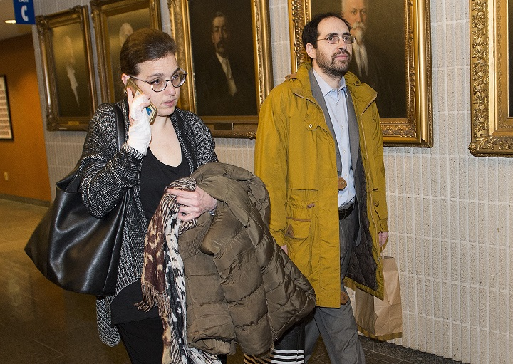 Clara Wasserstein, left, and Yochonon Lowen arrive at courthouse in Montreal, Monday, February 10, 2020.