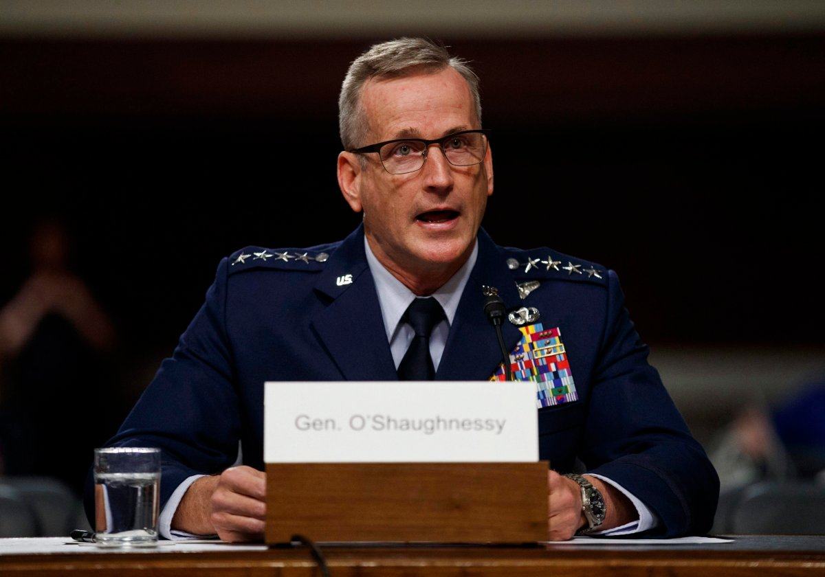 Air Force Gen. Terrence O'Shaughnessy testifies during a Senate Armed Services Committee hearing on Capitol Hill in Washington on April 17, 2018.