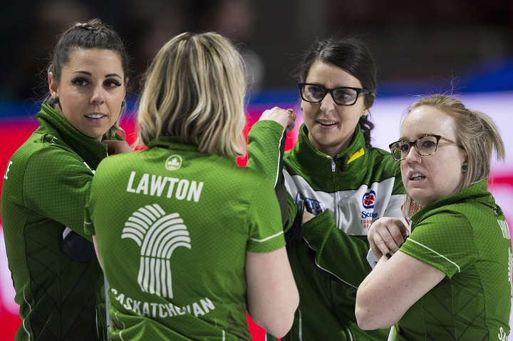 Saskatchewan team members Robyn Silvernagle, left to right, Stefanie Lawton, Jessie Hunkin and Kara Thevenot are seen during draw 1 against team New Brunswick at the Scotties Tournament of Hearts in Moose Jaw, Sask., Saturday, Feb. 15, 2020 .