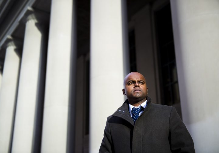 Rohan George poses for a photograph in Toronto on Thursday, February 20, 2020. George, a one-time gang member who admitted to stabbing a perceived rival in the back and leaving the victim in a park to die, has turned his life around to the point where he has now won permission to practise as a lawyer.