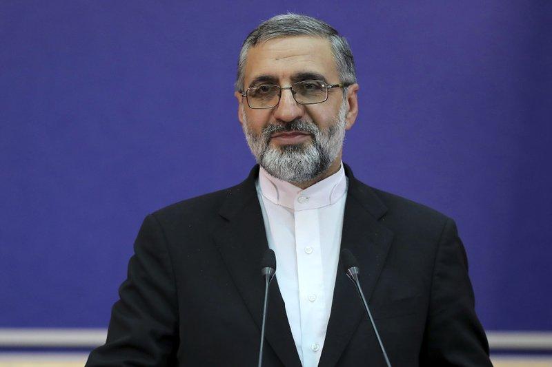 Iran's Judiciary spokesman Gholamhossein Esmaili gives a press conference in Tehran, Iran, Tuesday, Feb. 4, 2020.