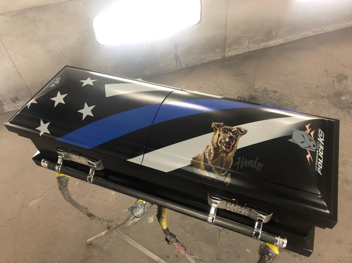 Rawtin Garage in Utah created a custom casket for Hondo, a police K-9 who was killed in the line of duty.