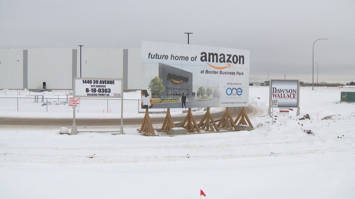 A worker was taken to hospital Thursday, Feb. 13, 2020 with critical injuries after being electrocuted while on the job at the under-construction Amazon Canada warehouse at the southern edge of Edmonton.