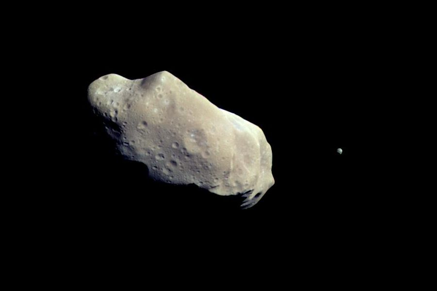 An asteroid is shown hurtling through space in this file photo captured by NASA's Galileo spacecraft.