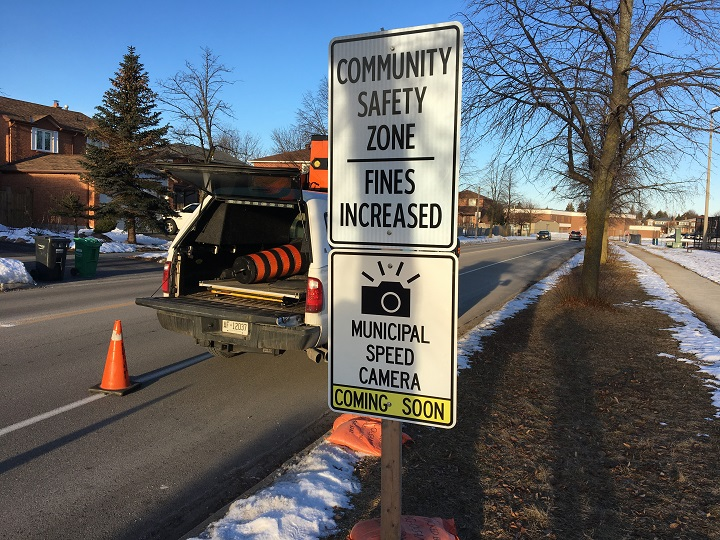 A warning sign for an upcoming automated speed enforcement camera is posted on Richvale Drive North in Brampton.